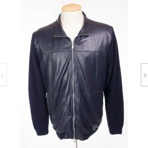 PAUL & SHARK Lambskin Leather Combo Knit Jacket L